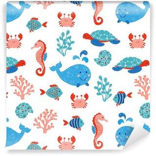 Tapeta na wymiar winylowa Słodkie zwierzęta morskie bezszwowe wzór w kolorach niebieskim i różowym. tło wektor z rysunkami dzieci wieloryba, żółwia, konika morskiego i ryb.
