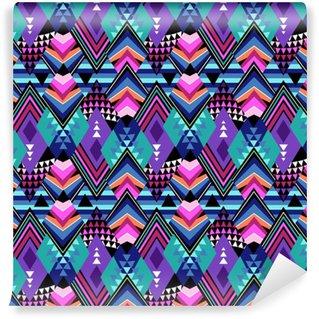 Vinylová Tapeta Tmavý geometrický kmenový tisk - bezešvé pozadí