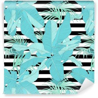Vinylová Tapeta Trendová tropických tkanina bezešvé vzor, palmové listy na černé a bílé pruhy, vektorové ilustrace
