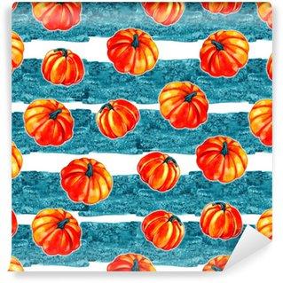 Vinylová Tapeta Umělecké bezproblémové Halloween vzoru designu. soubor ručně kreslený akvarel dýně izolovaných na bílém pozadí.