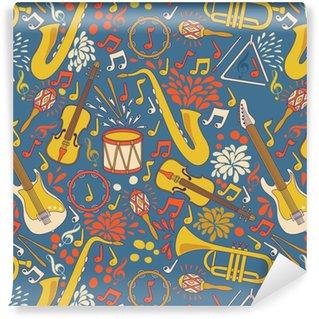 Vinylová Tapeta Vektor bezešvé vzor s hudebními nástroji. vektorové ilustrace. abstraktní hudební pozadí