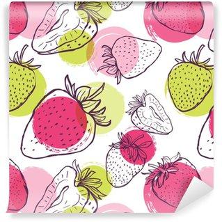 Vinylová Tapeta Vektor bezešvé vzor s jahodami a barevné akvarel barvy. ručně kreslit pozadí s černou a bílou lineární bobule. design textilu, textilní tisk, balicí papír.