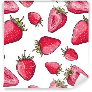Vinylová Tapeta Vektorové bezešvé vzor s červenými jahodami. ručně kreslit barevné letní pozadí s bobulem. design textilu, textilní tisk, balicí papír. zdravé ilustrace potravin.