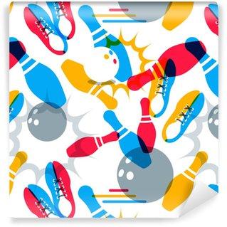 Vinylová Tapeta Vektorové bowling bezešvé vzor. abstraktní vícebarevné pozadí a designové prvky. bowlingová koule, bowlingové kolíky, ilustrace boty. design pro módní textilní tisk, balení, webové pozadí.