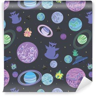 Vinylová Tapeta Vektorové ilustrace návrhu, veselá cizinec křídla kosmická loď multicolor šablony