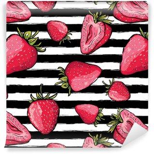 Vinylová Tapeta Vektorové letní bezproblémové vzorek. červené jahody na černé a bílé akvarel pruhované pozadí. ručně kreslené šťavnaté bobule pozadí. design textilu, textilní tisk, balicí papír nebo web.