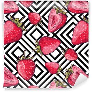 Vinylová Tapeta Vektorové letní bezproblémové vzorek. červené jahody na černém a bílém geometrickém pozadí. ručně kreslené šťavnaté bobule pozadí. design textilu, textilní tisk, balicí papír nebo web.