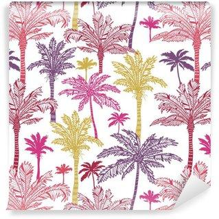Vinylová Tapeta Vektorové palmy bezešvé vzor na pozadí s rukou vypracován