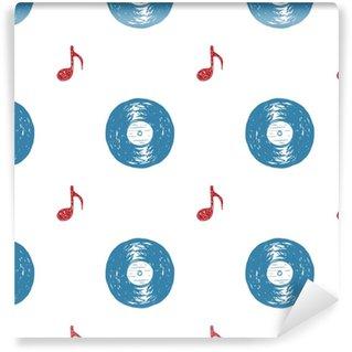 Vinylová Tapeta Vinylový záznam vinobraní bezešvé vzor ručně kreslený štítek náčrtek, grunge texturou retro odznak, typografie design t-shirt tisk, vektorové ilustrace