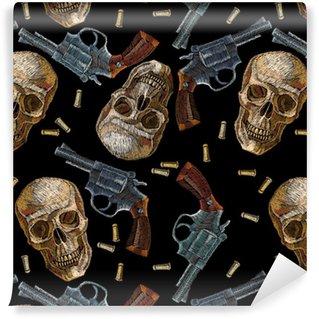 Vinylová Tapeta Výšivky lebky a zbraně bezešvé vzor. divoká západní vyšívání staré revolvery a lidské lebky, gangsterské gotické pozadí