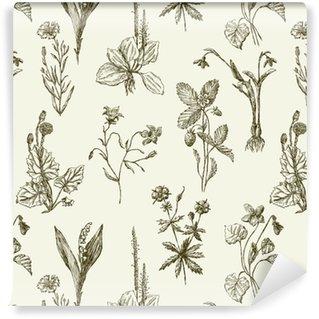Vinylová Tapeta Vzor náčrtky květin
