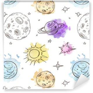 Vinylová Tapeta Vzorek s planetami a hvězdami