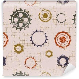 Tapeta winylowa Wektor bez szwu desenie z mechanizmu zegarka. Pień geometryczne grunge beżowym tła z kołem zębatym. Tekstury z pęknięciami, ambrozja, zarysowania ścieranie. Graficzna ilustracja.