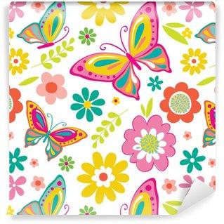 Tapeta winylowa Wiosna wzór z słodkie motyle nadaje się do pakowania prezent lub tapeta tło. eps 10 i hi-res jpg w zestawie
