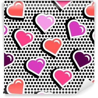 Tapeta na wymiar winylowa Wzór z kolorowe serca kształt odznaka na czarnym tle dotty. ilustracji wektorowych z naklejek serca w stylu komiksowym lat 80.-90. pop art tekstura stile powtarzając z czerwonym sercem.