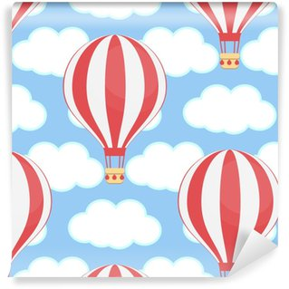 Balon na gorące powietrze, niebo, chmury, bez szwu