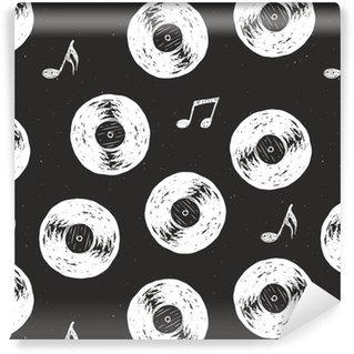 Płyta winylowa vintage wzór bezszwowe ciągnione etykiety szkic, grunge teksturowane retro znaczek, projektowanie typografii t-shirt, ilustracji wektorowych