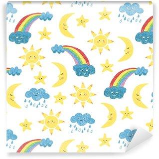 Barn ritningar sömlösa mönster. vektor färgstark bakgrund med klotter sol, måne, moln och regnbåge.