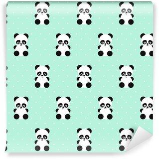 Panda Seamless på prickar grön bakgrund. Gullig design för tryck på barnets kläder, textil, tapet, tyg. Vektor bakgrund med leende baby djur panda. Barn stil illustration.