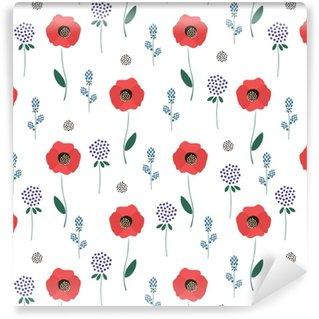 Blomstermønster på hvid baggrund. søde forår blomster sømløse baggrund - kløver, røde valmuer. dekorative tekstur. design til stof, tapet, tekstil og indretning. Personlige vaskbare tapet