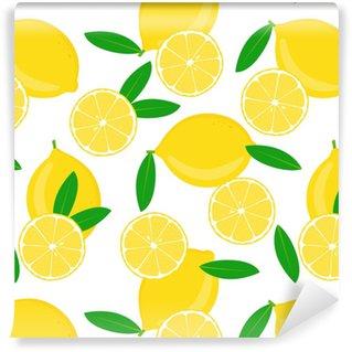 Citron og halveret med blade på hvidt Personlige vaskbare tapet