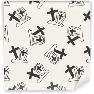 Grav doodle tegning sømløs mønster baggrund Personlige vaskbare tapet