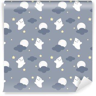 Søde tegneserie sømløs vektor mønster baggrund illustration med spøgelser i natten Personlige vaskbare tapet