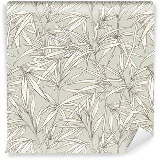 Sømløs mønster med bambusblader og grener i japansk sty