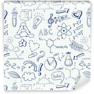 Uddannelse doodle sømløse mønster med videnskab symboler Personlige vaskbare tapet