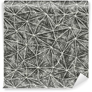 Abstract artistic hand drawn pattern. Wire-frame triangle struct Vinyl custom-made wallpaper