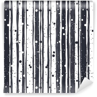 Abstract Hand Drawn Seamless Pattern with Black and White Lines Vinyl Custom-made Wallpaper