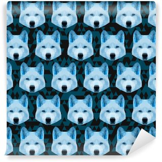 Abstract polygonal geometric blue wolf seamless pattern backgrou Vinyl Custom-made Wallpaper