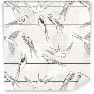 Abstract seamless pattern. Bird on the wires. Vinyl custom-made wallpaper
