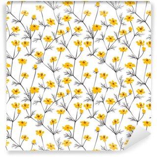 Abstract yellow flowers seamless background. Vinyl Custom-made Wallpaper