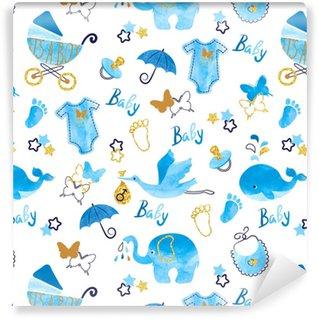 Baby shower boy seamless pattern. Vector watercolor kids background. Vinyl custom-made wallpaper