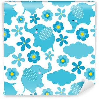 Baby shower seamless pattern with cute elephant and flowers suitable for wallpaper, scrap paper, and postcard Vinyl Custom-made Wallpaper