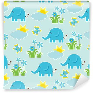 Baby shower seamless pattern with Cute elephant, butterfly, flowers, and sun on blue background suitable as wallpaper, scrap paper, and postcard Vinyl custom-made wallpaper