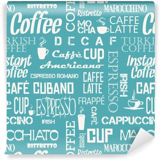 Background seamless tile of coffee words and symbols Vinyl Custom-made Wallpaper