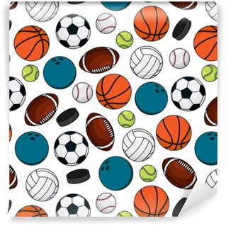 Balls and pucks for team games seamless pattern Vinyl custom-made wallpaper
