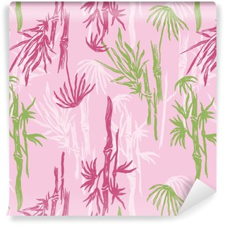 Bamboo Seamless Pattern on pink background. Tropical wallpaper, nature textile print. Vinyl Custom-made Wallpaper