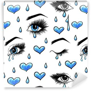 Beautiful open female blue eyes with long eyelashes is isolated on a white background. Makeup template illustration. Color sketch handwork. Tears in the eyes. One-way love. Seamless pattern for design Vinyl Custom-made Wallpaper