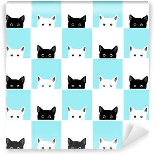 Black White Blue Cat Chess board Background Vector Illustration Vinyl Custom-made Wallpaper