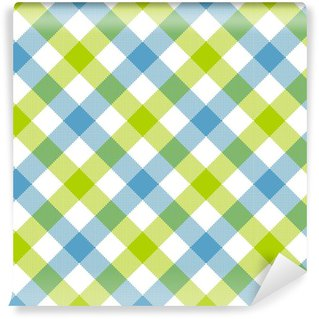 Blue green diagonal checkered plaid seamless pattern Vinyl Custom-made Wallpaper