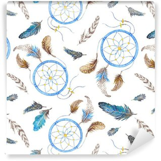 Boho Pattern with Feathers and Dreamcatcher Vinyl Wallpaper
