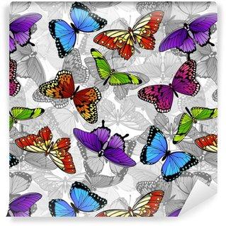 Butterfly Seamless Background Pattern Vinyl custom-made wallpaper