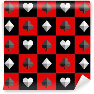 Card Suit Chess Board Red and Black Pattern Vector Illustration Vinyl custom-made wallpaper