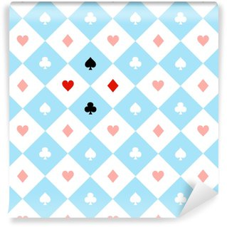 Card Suits Blue Red White Chess Board Diamond Background Vector Illustration. Vinyl custom-made wallpaper