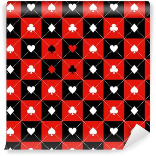 Card Suits Red Black White Chess Board Diamond Background Vector Illustration Vinyl Custom-made Wallpaper
