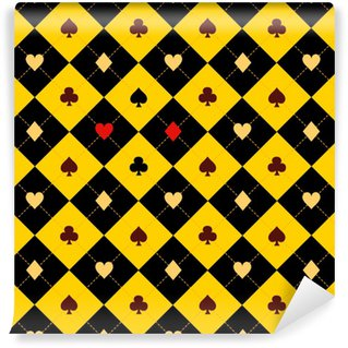 Card Suits Yellow Red Black Chess Board Diamond Background Vector Illustration. Vinyl Custom-made Wallpaper