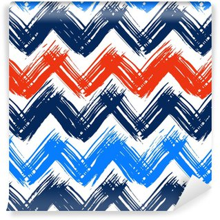 Chevron pattern hand painted with brushstrokes Vinyl custom-made wallpaper